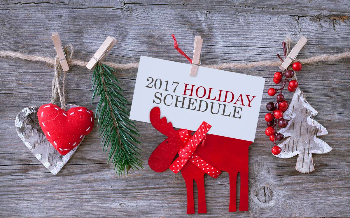 2017 holiday schedule for lumaprints orders