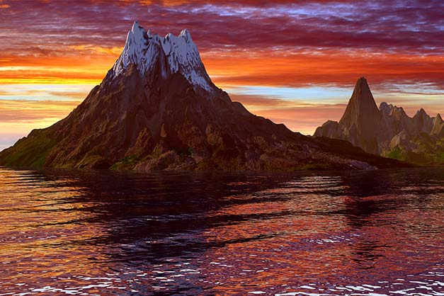 landscape image of mountain sea sunset focal point