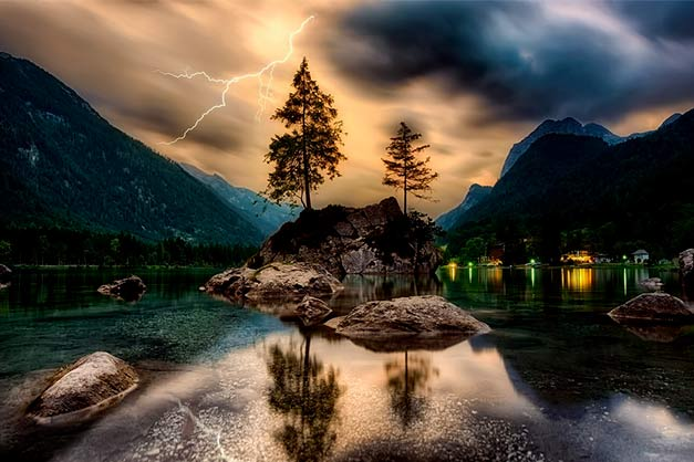trees river cloudy weather with storm and lightning