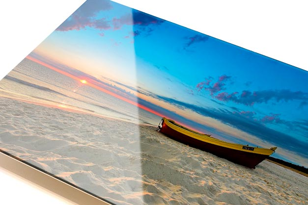 acrylic print of boat on beach shore during sunset