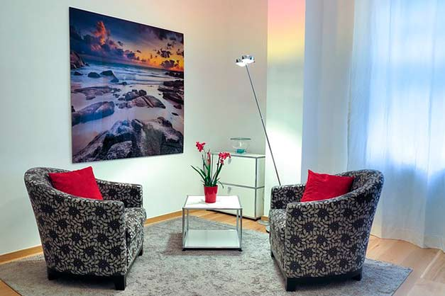 large metal print displayed in small living room