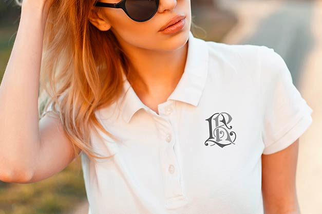 polo with monogram; monogram design on polo, polo for women
